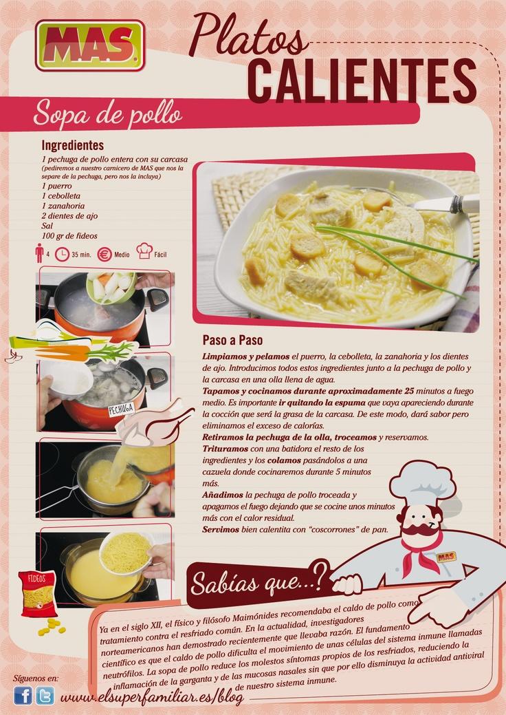 Sopa de pollo casera, que con el mal tiempo... ¡apetece! #recetas #recipes #infografias #infographics #inforecetas