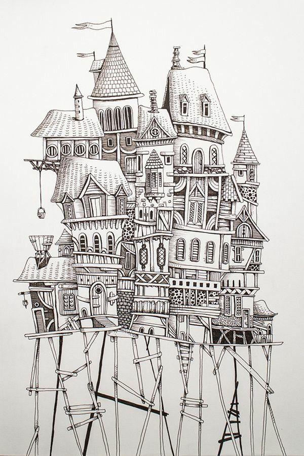 Illustration Treehouse Sketch Home By Eren Dedeleroglu Via Behance