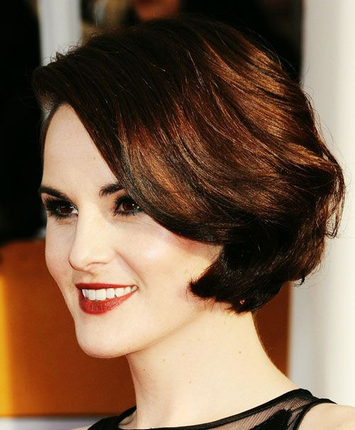 """look at Michelle Dockery! ..of course, the key to this 'do is the styling, and I think her hair has more natural body than """"fine"""", but this is such a great look it deserves a pin!"""