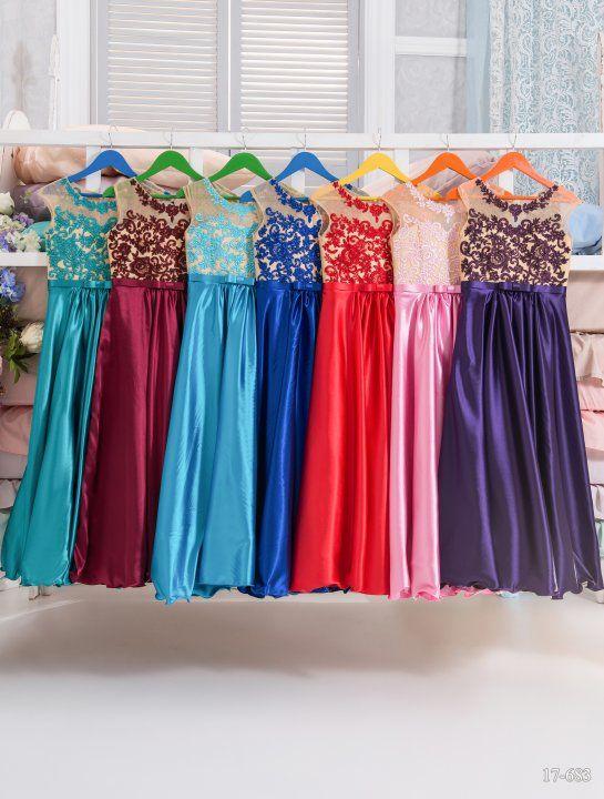 Роскошные атласные платья в пол для маленьких девочек