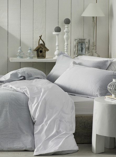 For Master end of bed? -- Textured Pinstripe Duvet Cover Set