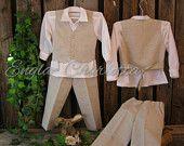 Linen ring bearer outfit. Boys linen suit. Rustic ring bearer suit. Country wedding. Toddler boy formal wear. Beige boys wedding suit