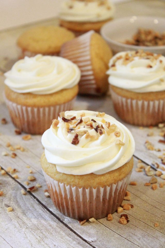 """The delicious flavor of honey blends perfectly with a fluffy cream cheese frosting. If you've ever tried a European honey cake called """"Medovik"""" then these cupcakes are a must to make."""