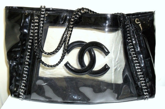 Chanel Black Patent Leather Amp Clear Tote Bag By