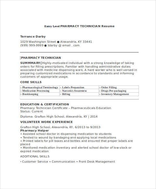 Pharmacy Technician Resumes Resume Skills Job Resume Samples Pharmacy Tech