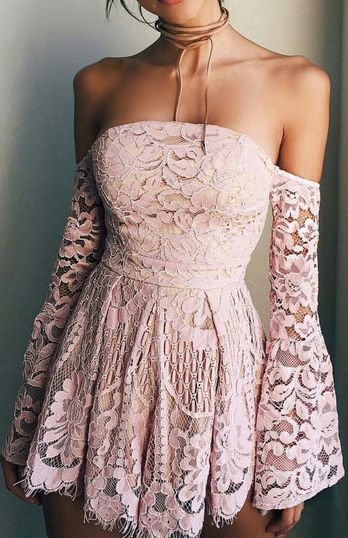 Sweet Pink Lace Off The Shoulder Homecoming Dress,Long Sleeves Mini Homecoming Graduation Dress,Strapless Short Prom Dress, Homecoming Dress TF54 2