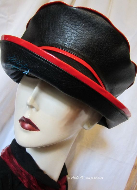 rain hat to order black and red woman elegant par MatheHBcouture