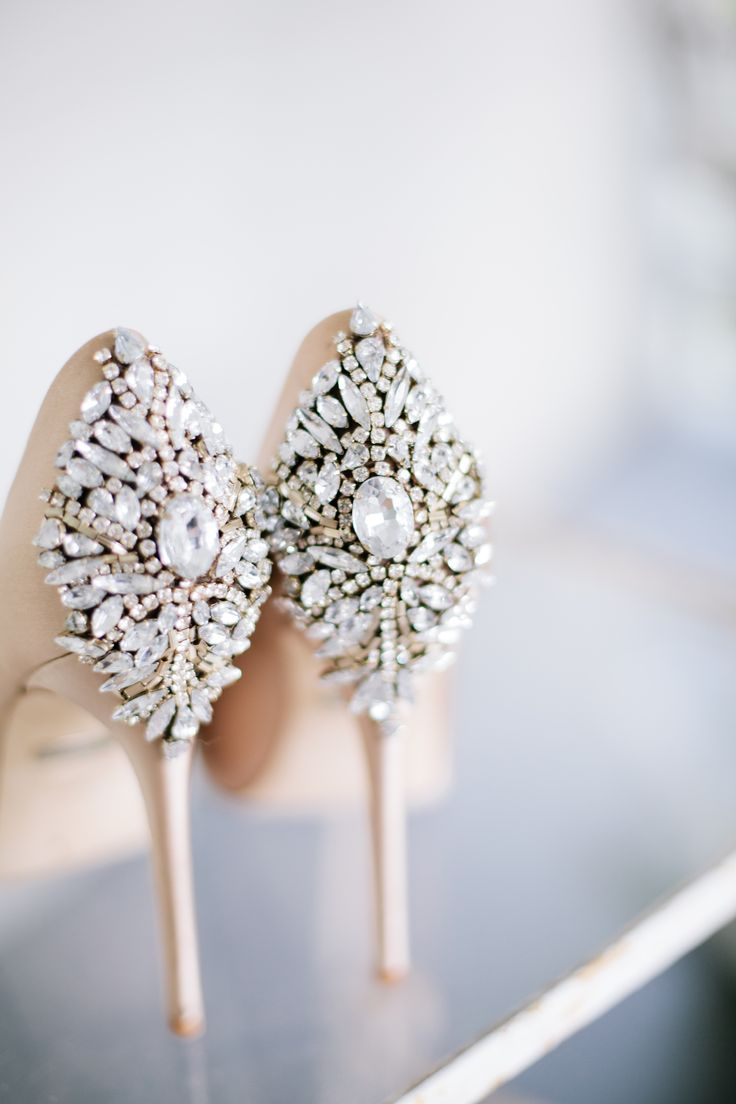 Glam wedding shoes, jewel encrusted heels, bedazzled bridal shoes, high heels // Samantha Lauren Photographie