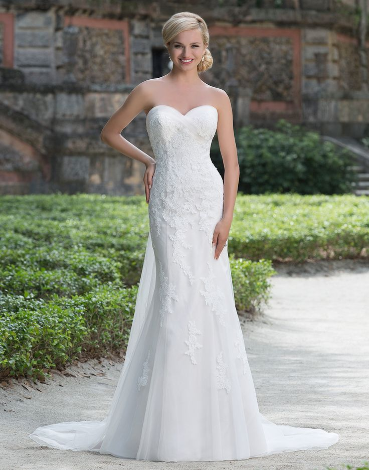 Sincerity wedding dress style 3876 this romantic lace for Fit and flare wedding dress body type