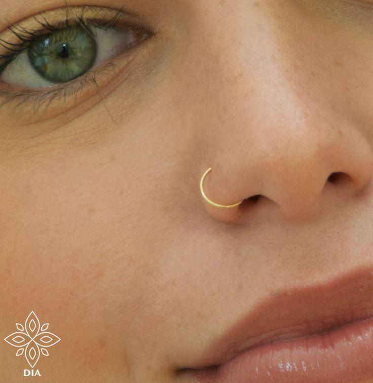 24 Gauge Slim Nose Ring Tiny Hoop Earrings Helix Piercing