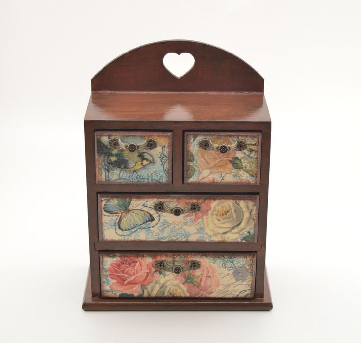 Decoupage commode Chic, decoupage jewelry commode, decoupage box, mini jewelry commode, mini chest of drawers, wooden jewelry box by PastimeArt on Etsy
