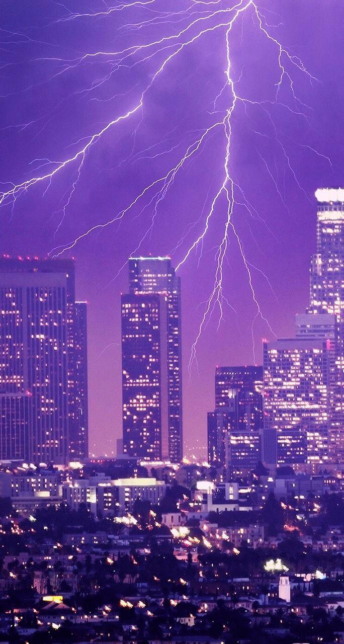 Purple Lightning Wallpaper iPhone, Android & Desktop