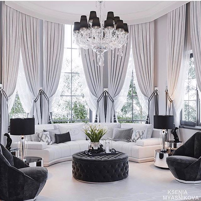 Homedecor Monochrome With Glam Factor Style This Room Is Everything Love Everything About It Home Curtains Elegant Living Room Elegant Home Decor