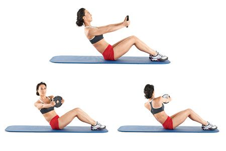 Weighted Russian Twist: Use weights to get more out of the exercise.