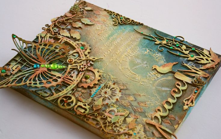 Mixed Media Canvas w. VIDEO TUTORIAL **Dusty Attic & Shimmerz Paints** - Scrapbook.com