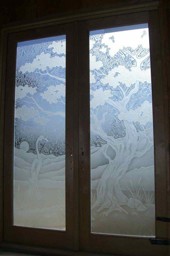 door glass frosted olive tree bird egret - bathroom doors
