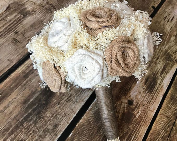 Burlap Wedding Bouquets Rustic Weddings Bouquets by NaturesDoorway