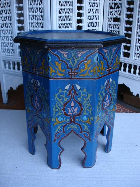 Moroccan tea table in dreamy blue