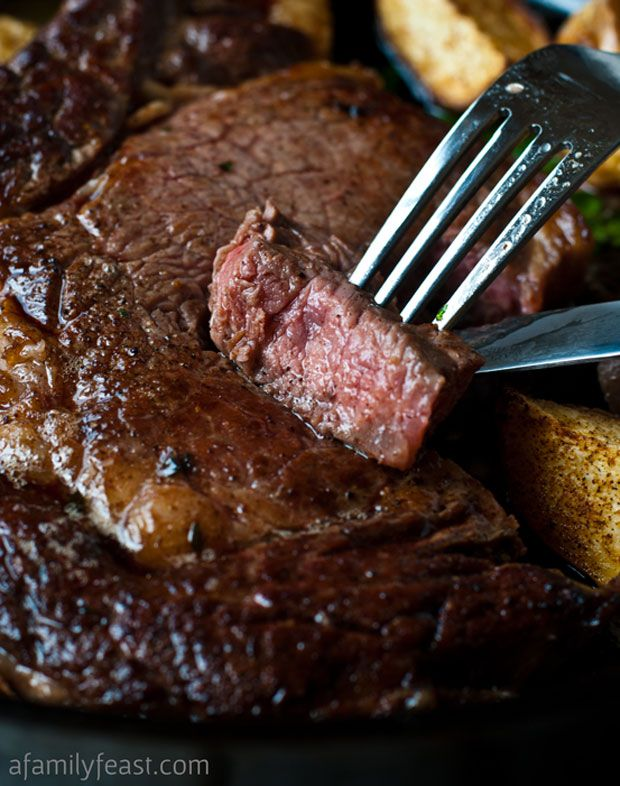 Perfect Pan-Seared RIBEYE or SIRLOIN STEAK ~  There's nothing better than a tender juicy steak and good company.