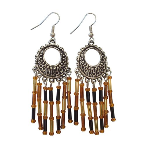 Bronze and Amber Beaded Earrings