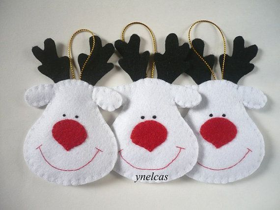 Felt Christmas Ornaments -  Felt Christmas Decoration - Felt Christmas Rudolph the Red Nose Reindeer  - White Reindeers - Set of 3