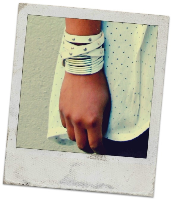 Layering white leather bracelets. Very chic!  #leather #indiverve #studdedbracelets