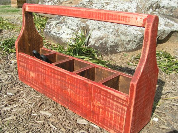 wooden tool box etsy. wood toolbox planter catch all box handmade usa red etsy wooden tool