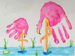 Handprint flamingos