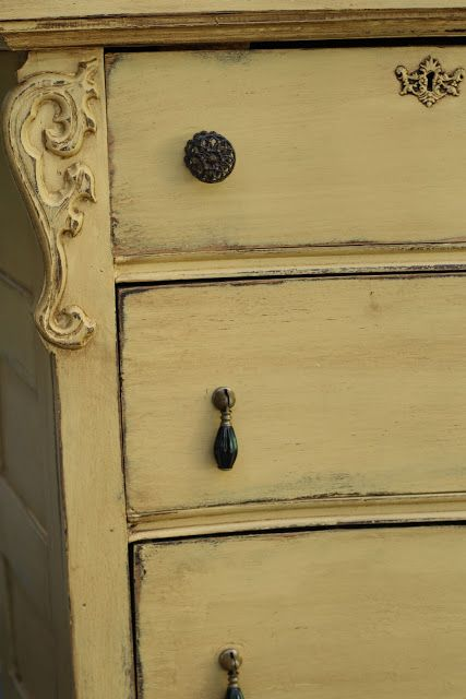 Gold Milk Paint Antiqued Dresser with Mirror       http://primitiveandproper.blogspot.com/2013/05/somerset-gold-antiqued-dresser-with.html