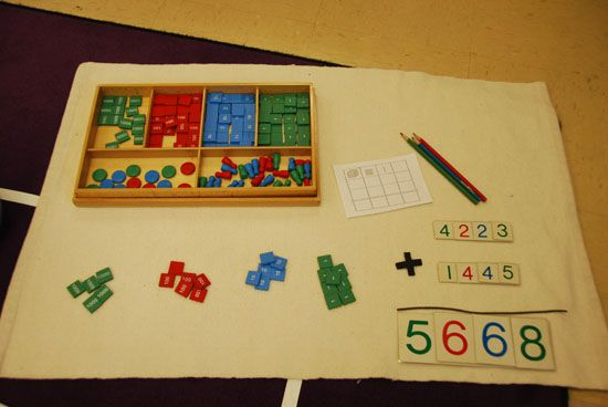 Montessori math techniques learning decimals. subtraction division
