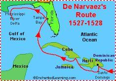10 - La expedición estaba compuesta por 600 hombres y cinco barcos. En Santo Domingo, 140 marinos abandonaron la expedición y en Cuba murieron 70 hombres en una fuerte tormenta, pero llegaron finalmente a la costa de Florida el martes 12 de abril de 1528. En la bahía de Tampa vieron casas indígenas.