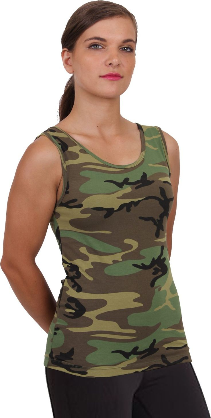 Womens Woodland Camouflage Military Form Fit Casual Lounging Stretch Tank Top | 44590 | $9.99