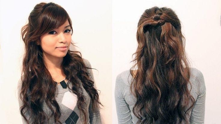 acconciature per i capelli lunghi ondulati con la frangia