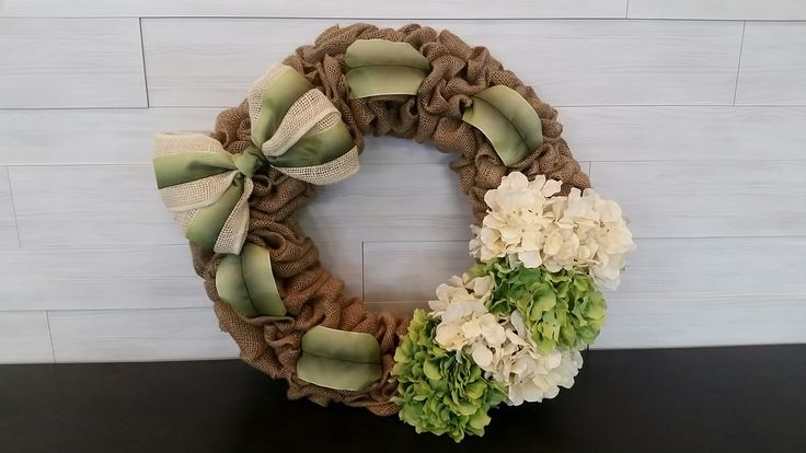Custom Burlap Wreath with flowers and ribbon #burlap #wreath #wreathideas #ribbon #flowers #goldenforrestcreations