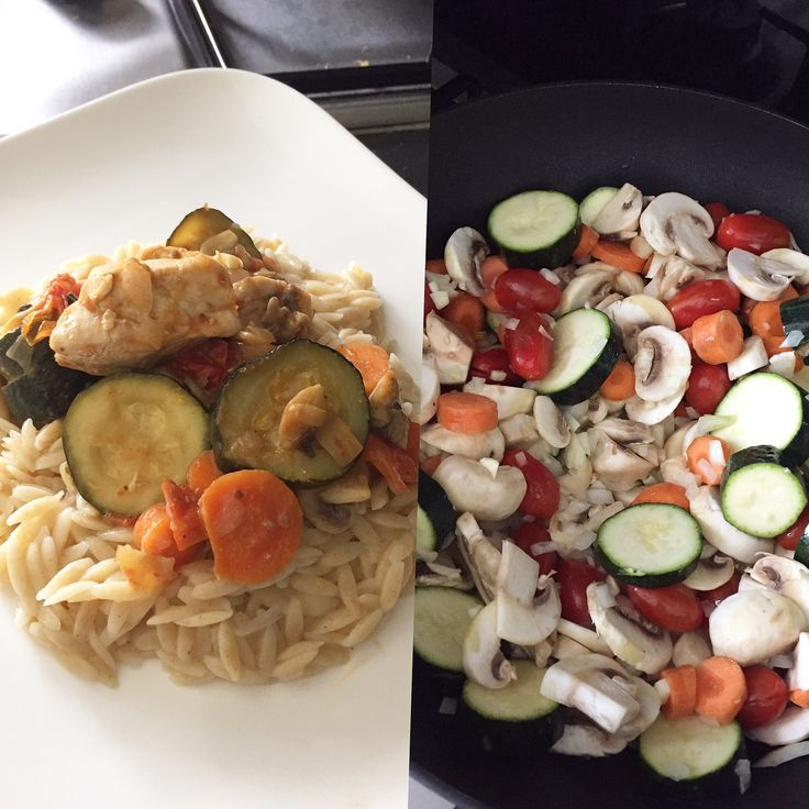 Filets of chicken with fresh vegetables  For the chicken: 2 filets of chicken  1onion garlic 2 tomatoes  500g mushrooms  2 carottes  2 courgettes  1/5 glass of white wine 1 cube of knorr  chicken Oil Salt Pepper