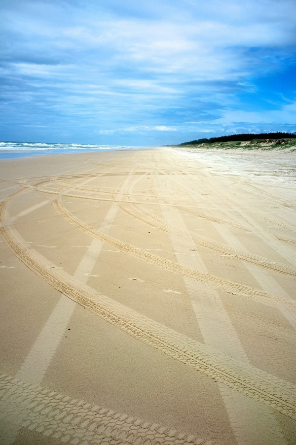 Moreton Island beach.  East side, where the Great Whites live.