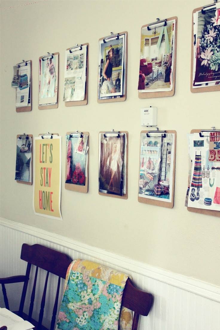 Another great idea: using clipboards to hang graphics and photos!