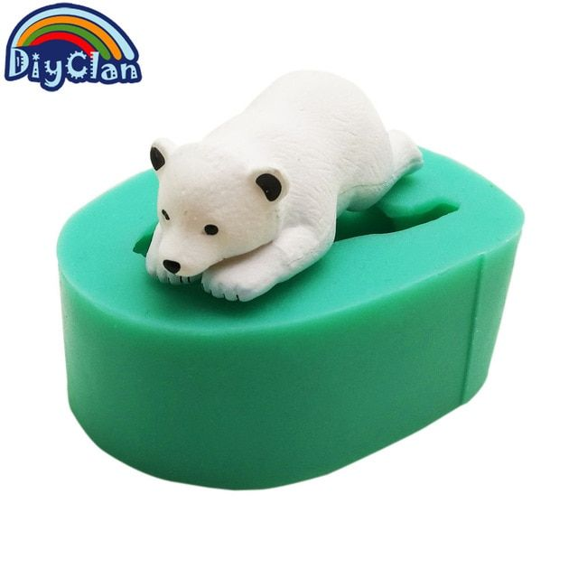 Silicone Mold Mould Chocolate Polymer Clay Soap Candle Wax Baby Polar Bear