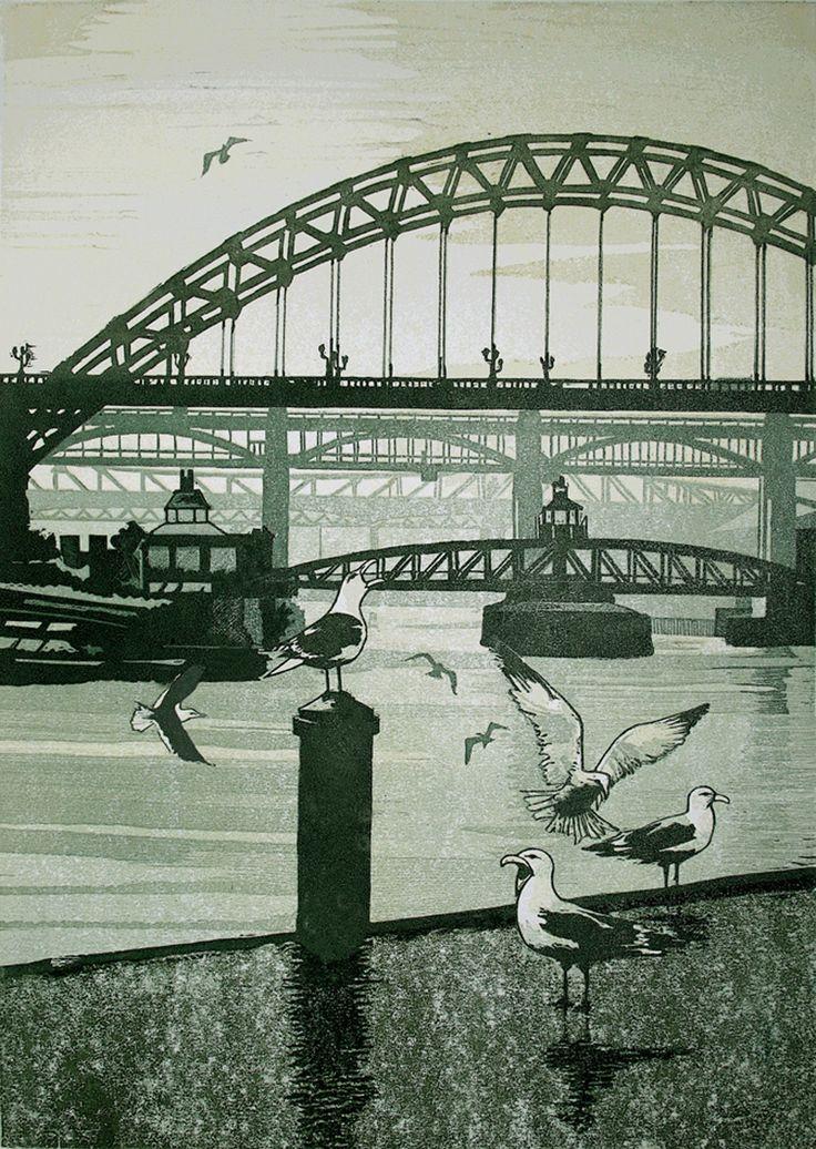 ✦ 'tyne bridges' - mike smith - linocut