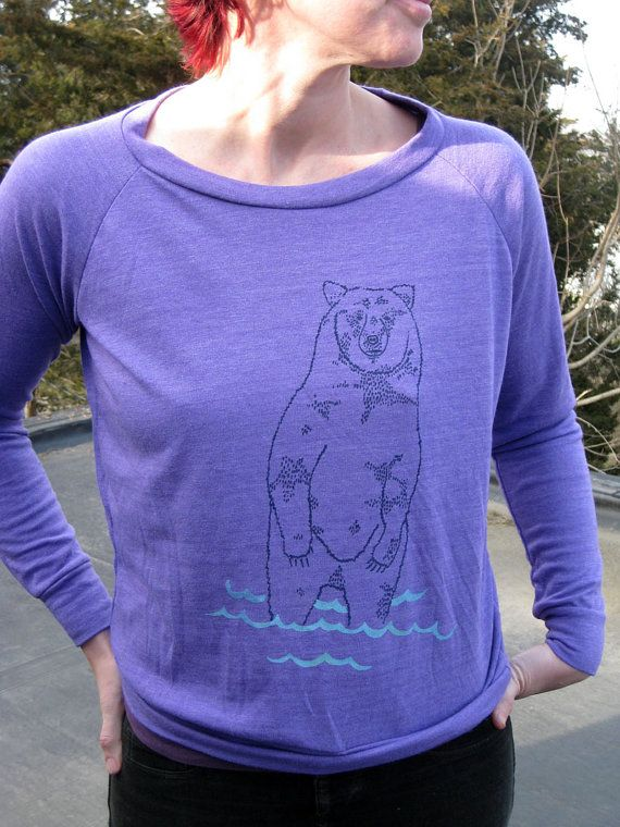 goin to the lake Bear Sweater Slouchy Pullover by nicandthenewfie, $36.00