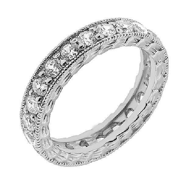 Vintage Eternity Ring, Filigree Diamond Eternity Ring, Diamond Eternity Band in 14K White gold. Classic Diamond Ring