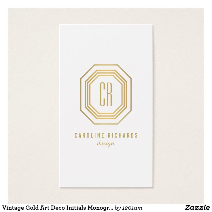 46 best art business cards images on pinterest art business cards vintage gold art deco initials monogram business card reheart Gallery
