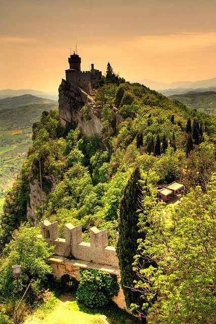 San Marino Italy.  San Marino, officially the Republic of San Marino and also known as the Most Serene Republic of San Marino, is an enclaved microstate surrounded by Italy, situated on the Italian Peninsula on the north-eastern side of the Apennine Mountains. Wikipedia