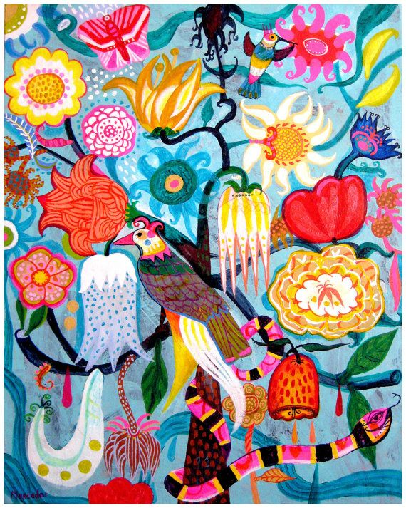 Flowers N.11 - 8,5 x10,5 aprox. inches Print. Algarabia, art painting flowers, bohemian, folk, funky, naive, primitive.
