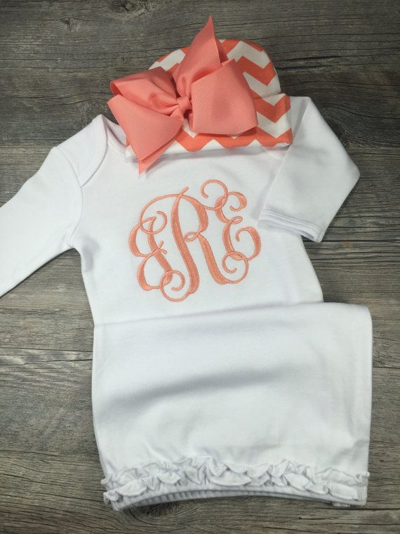 Baby Girl Coming Home Outfit Monogram Gown with by ChicSunflower
