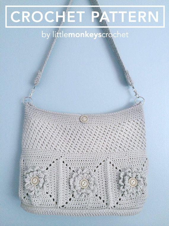 Purse Crochet Pattern, Crochet Shoulder Bag Pattern (The Wildflower Shoulder Bag Pattern by Little Monkeys Crochet) crochet, pattern, PDF