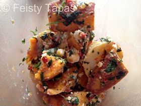 Thermomix- Sweet potato  potato salad with red chilli, coriander lemon  feta