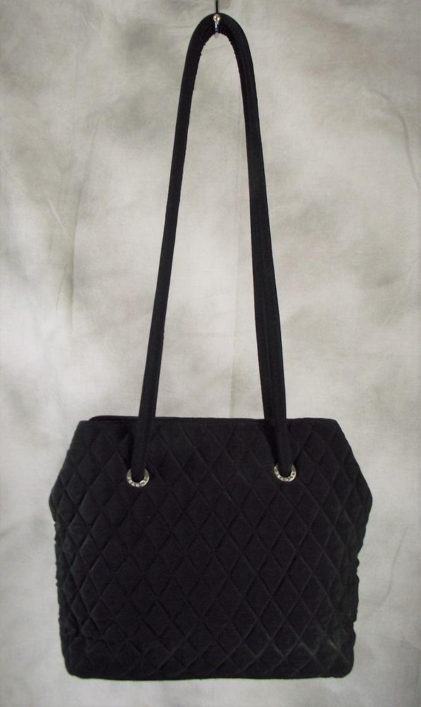 b815baa6496f VERA BRADLEY Black Quilted Microfiber Shoulder Bag Handbag Purse 13 x 10 x  3.5  fashion  clothing  shoes  accessories  women…