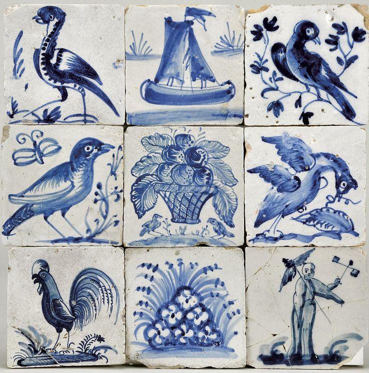 """Designação: Figuras avulsas - """"Pessoa, aves, barco e flores"""""""