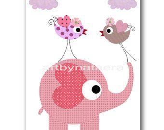 Artículos similares a Niños pared arte, bebé vivero Decor, niña, vivero arte Decor, pájaro, elefante, buho, rosado y gris, impresión 8 x 10 en Etsy